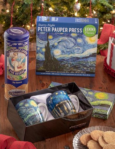 A Starry Night 4-Piece Puzzle & Treats Gift Set