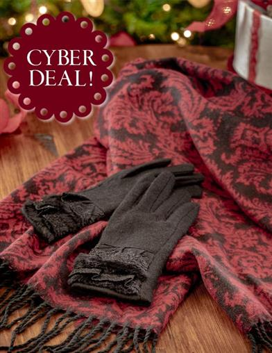 Scarlet Damask Shawl & Gloves Gift Set