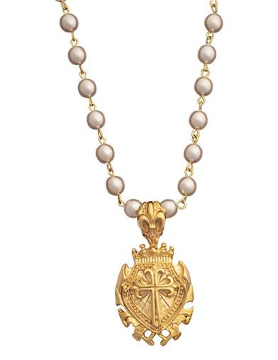 Crown Of Faith Shield Pendant Necklace