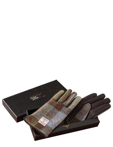 Ladies Brown Leather & Harris Tweed Gloves