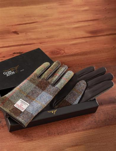 女士棕色皮�& Harris Tweed Gloves
