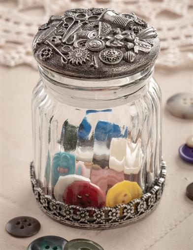 Pewter Glass Button Jar