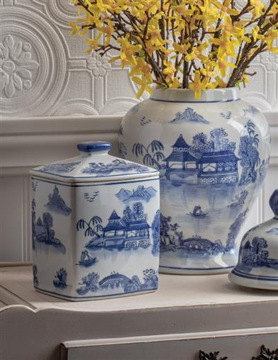 Blue Willow Ginger Tea Jar