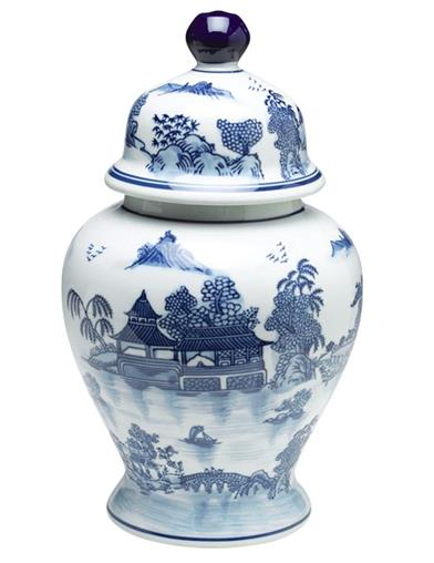 Blue Willow Ginger Jar Large