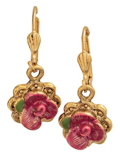 14K Gold-tone Pink Floral Earrings