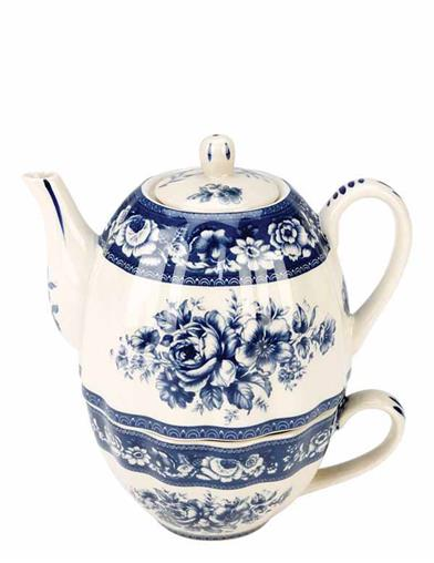 Blue Roses Toile Tea-for-one