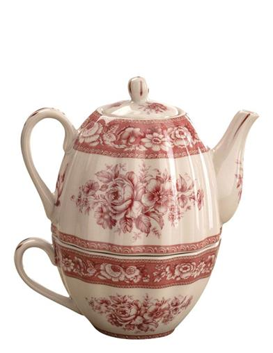 Red Roses Toile Tea-for-one