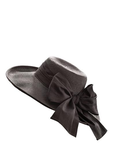 Eleanora Black Linen Wide-brimmed Sun Hat