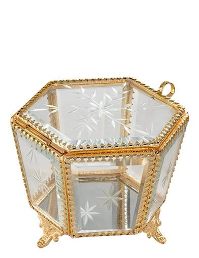 Colette Etched Glass & Brass Jewelry Box