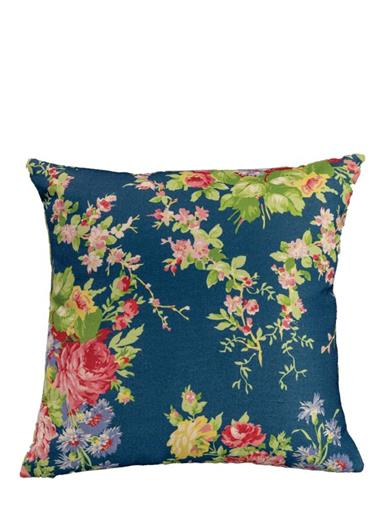 April Cornell Blue Cottage Rose Cushion