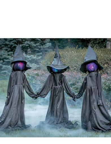 Weird Sisters Animated Witch Yard Stakes