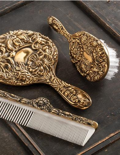 Antique Brass Brush, Comb And Mirror Gift Set