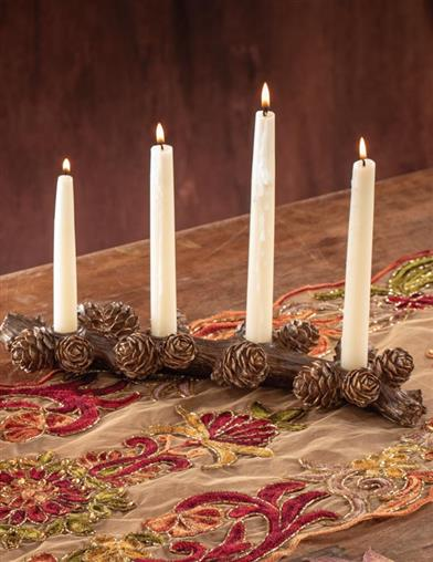 Pine Cone Branch Candle Holder