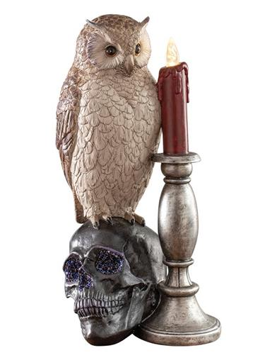 Eerie Evening Statue With Skull & Led Candle
