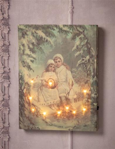 Sisters In A Wintry Wood Lighted Canvas