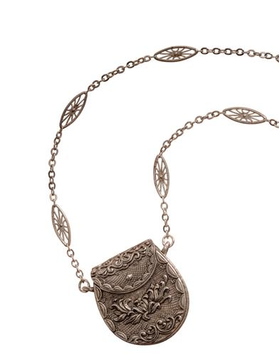 Pewter Purse Locket Necklace