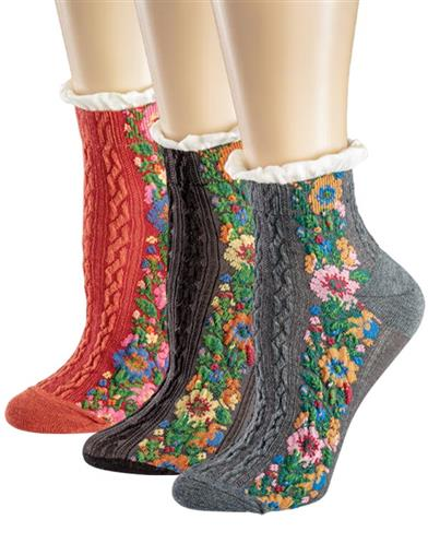 Embroidered Jacquard Floral Socks (3 Pairs)