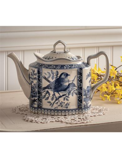 French Blue Toile Teapot