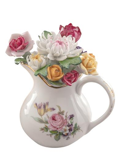 Summer Blooms Porcelain Pitcher Decor