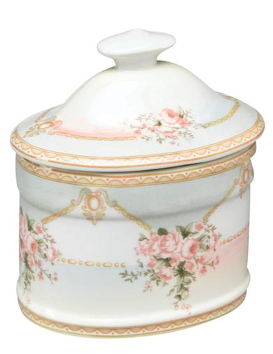 Vintage Rose Bouquet Porcelain Box With Lid
