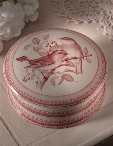 A Perfect Perch Transferware Box With Lid