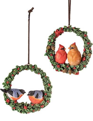 Birds Of A Feather Wreath Ornament (Set Of 2)