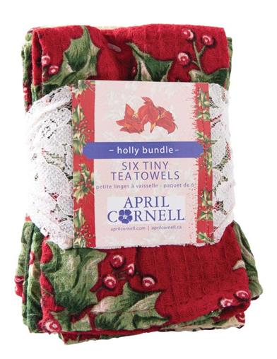 April Cornell Holly Patch Tiny Towels (Set Of 6)