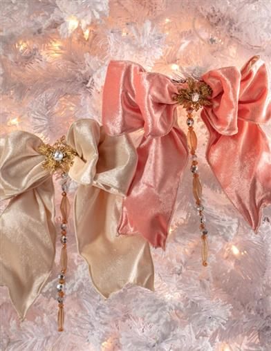 Regency Collection Beaded Bows Clip Orn (Set Of 2)