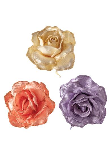 Regency Collection Blooming Roses Orn (Set Of 3)