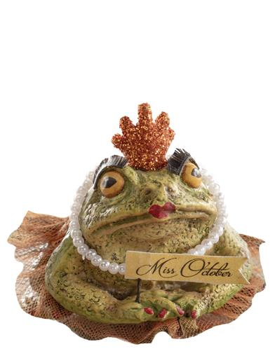 Bethany Lowe's Miss October Frog Figurine