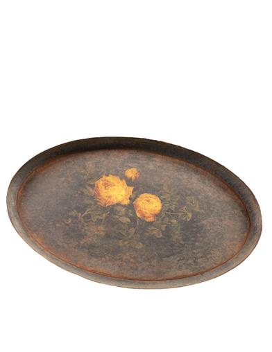 Yellow Roses Antique Metal Tray