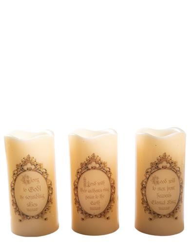Away In A Manger Nativity Candles (Set Of 3)