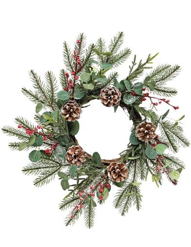 Holiday Wreath With Berry, Pine And Eucalyptus
