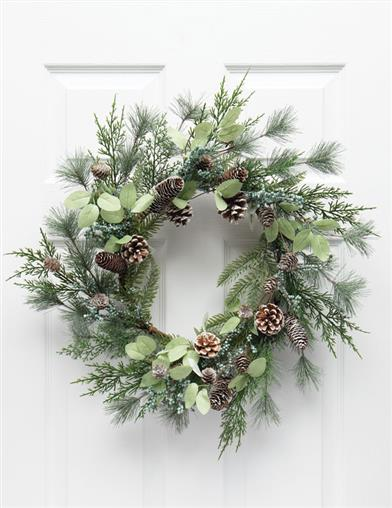 Wintergreen Frosted Pine And Juniper Wreath