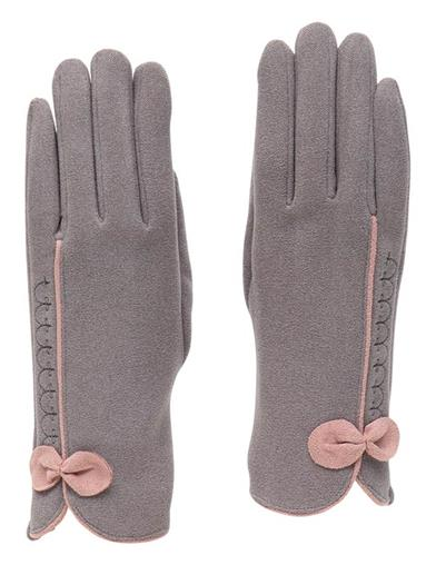 Gracie Gray Gloves With Pink Bow