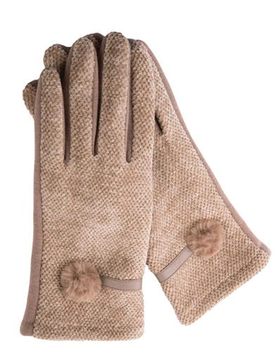 Genevieve Camel Gloves With Fur Poms