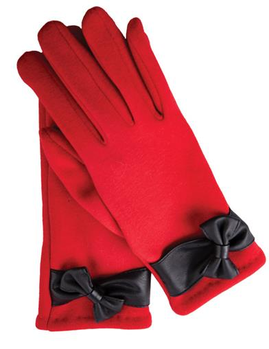 Ruby Gloves With Black Bow