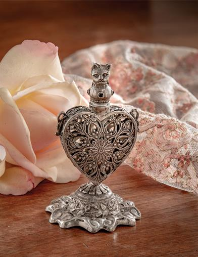 Cat Of Hearts Pewter Vial