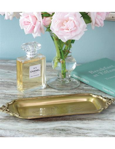 Engraved Antiqued Brass Tray