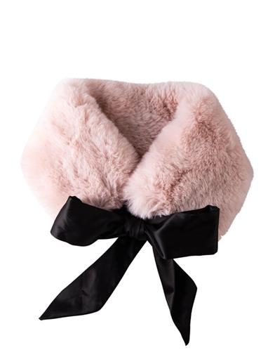 Fur Stole With Black Ribbon