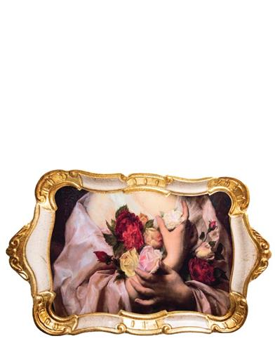 The Hands Of Grace Gilded Italian Tray