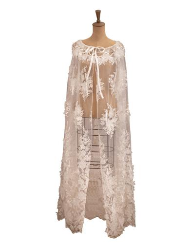Sheer Majesty Embroidered Lace Cape