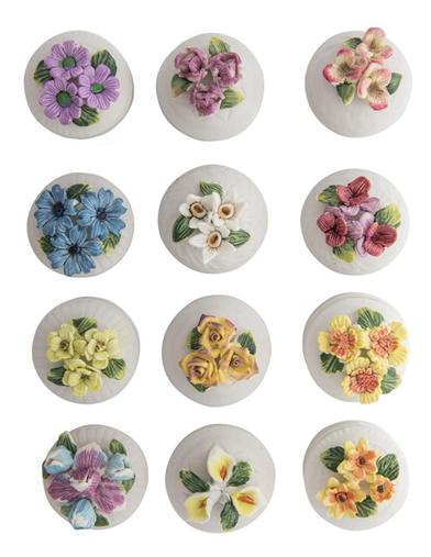 Lidded Floral Porcelain Boxes (Set Of 12)