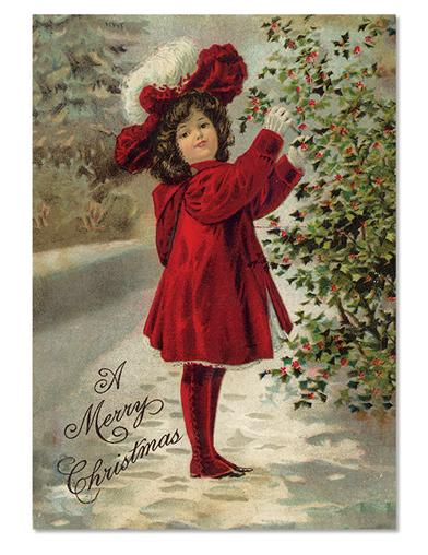 Girl In Red Christmas Cards (Pkg Of 10)
