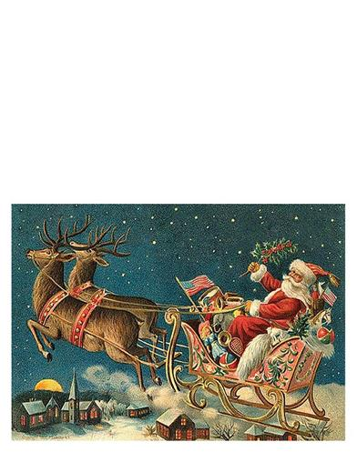 Santa In Sleigh Christmas Cards (Pkg Of 10)