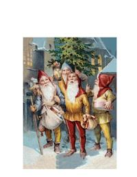 Gnomes With Lantern Christmas Cards (Pkg Of 10)