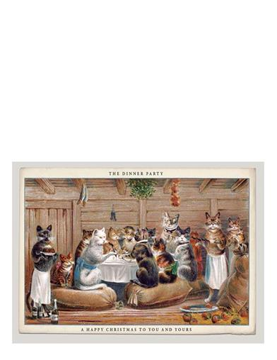 CATS AT TABLE CHRISTMAS CARDS (PKG of 10)